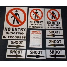 SHOOTING Sign Assorted Pack